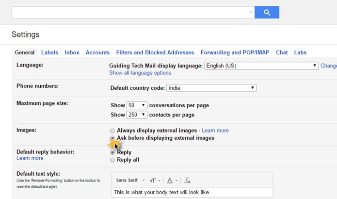 Alter Gmail Settings