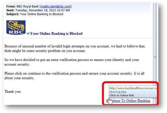 Bank online scam