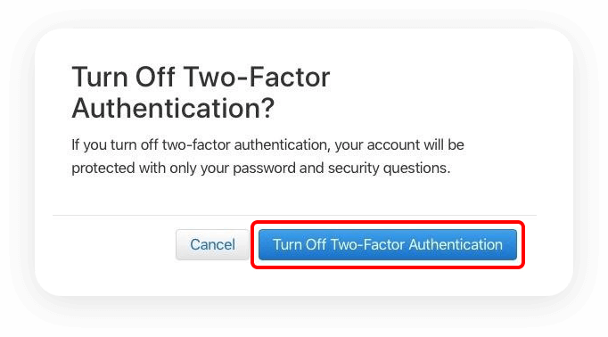 Disable Two-Factor Authentication