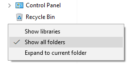 Display Recycle Bin and Control Panel In Left Side Pane