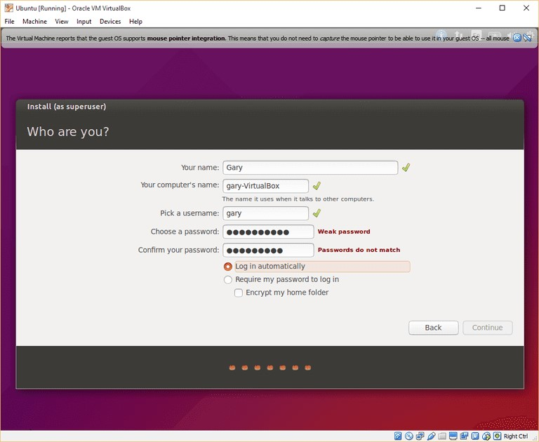 Install ubuntu as super user