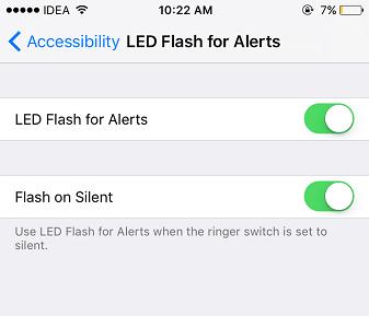 LED flash for alert