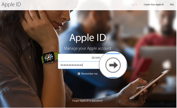 Log in with your Apple ID and password