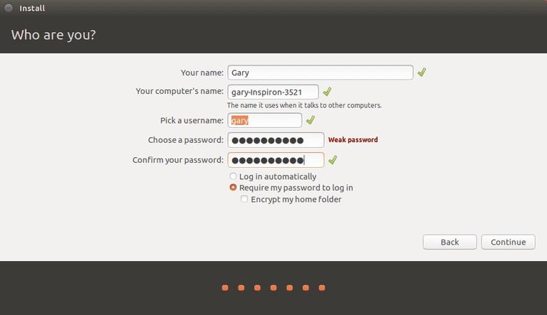 Set ubuntu username and password