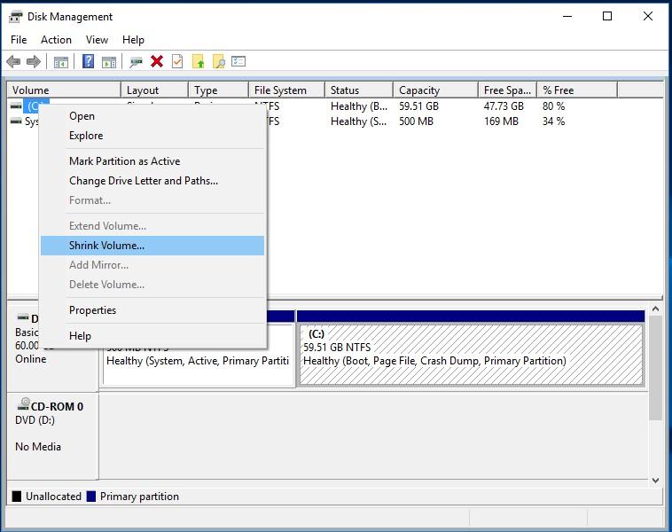 Shrink volume disk management