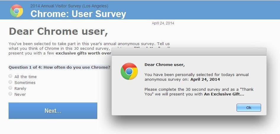 chrome survey scam popup