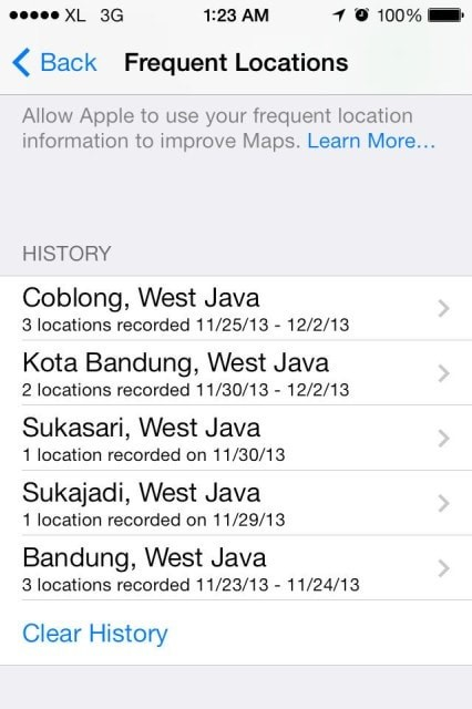 clear location history on iPhone