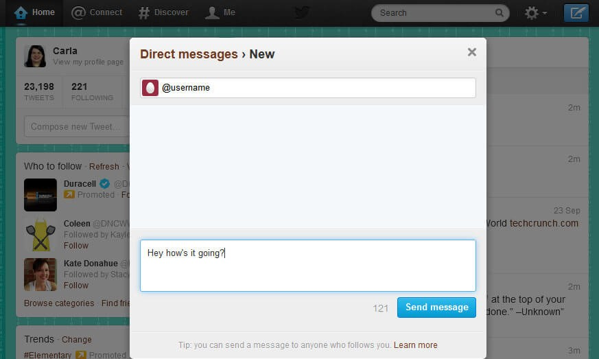 direct message on twitter