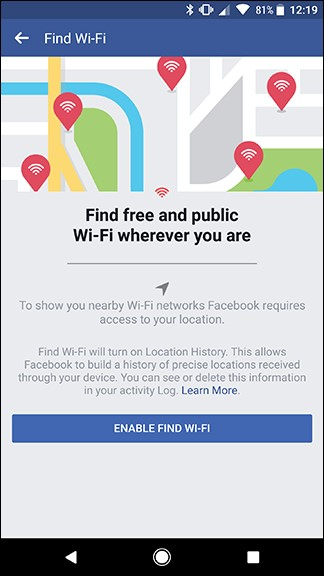 enable wifi facebook