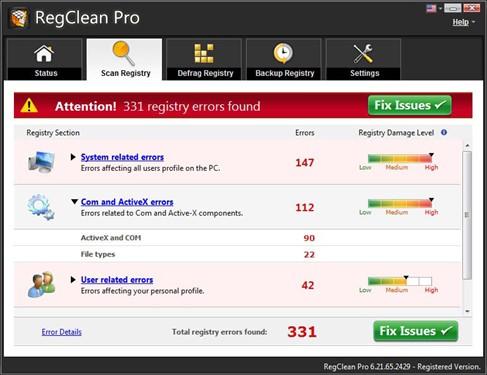 fix scans- fix registry errors in windows