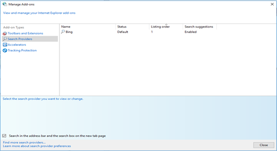 manage search option in IE