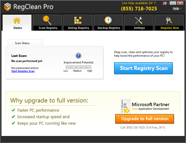 regclean pro home screen