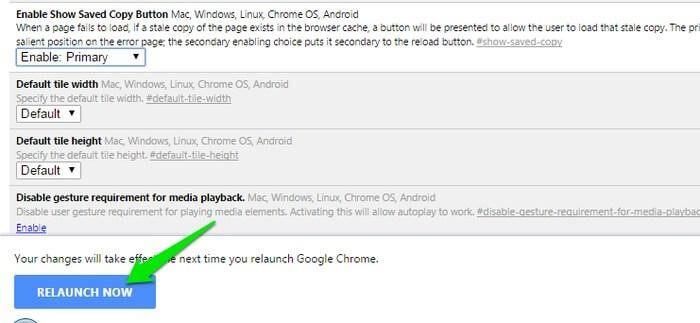 relaunch the chrome for offline
