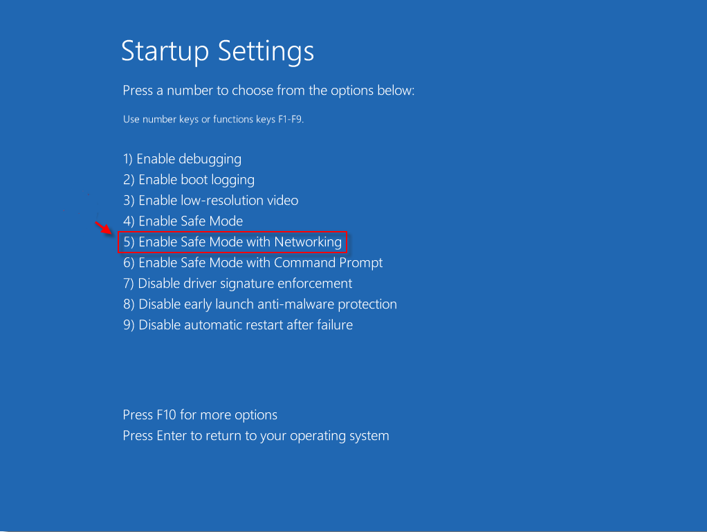 safe-mode-in-networking-windows-10