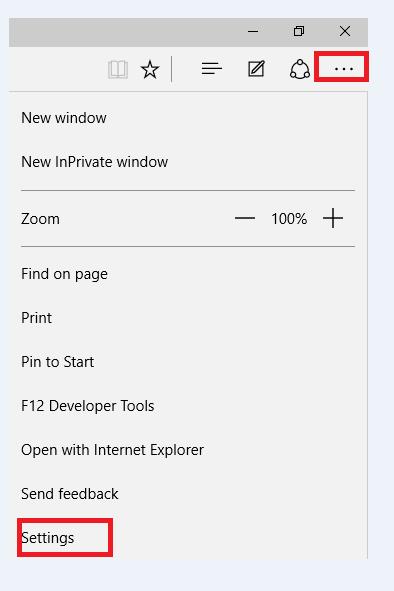 settings option in edge windows 10