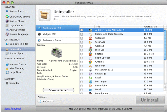 tuneupmymac help to uninstall apps