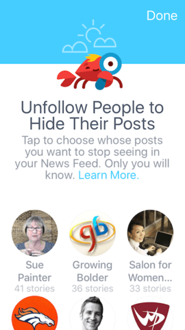 unfollow people on facebook
