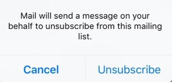 unsuscribe iPhone mailbox