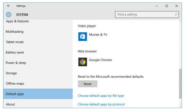 windows 10 default apps