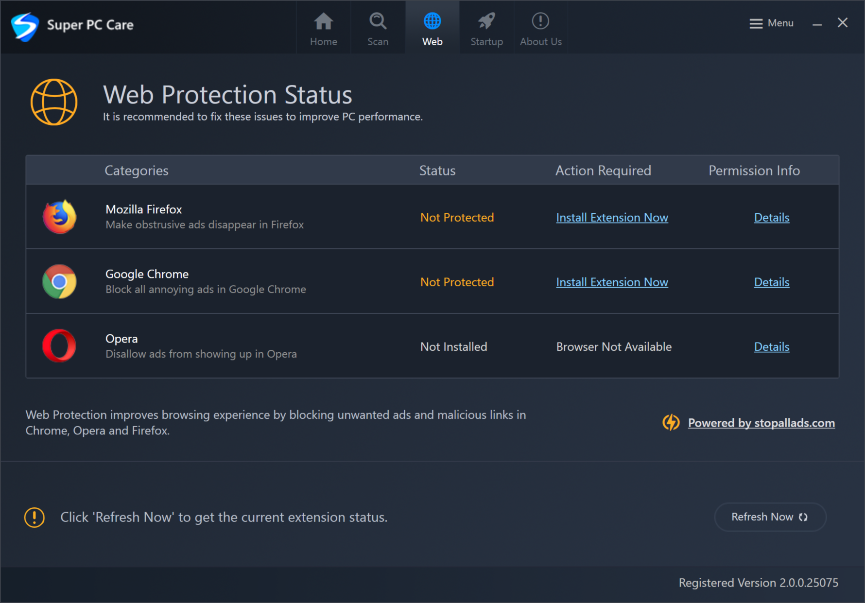 Super PC Care- Web Protection Status