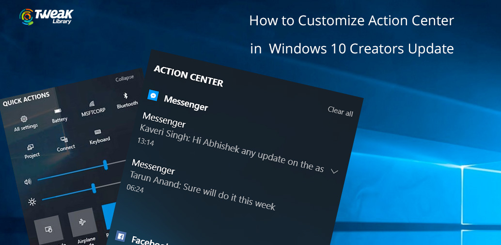 How to customise the Action Center in Windows 10 Creators Update