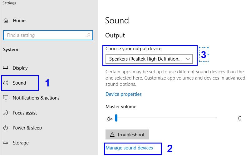 إدارة أجهزة الصوت | كيفية إصلاح سماعات الرأس لا تعمل في ويندوز 10