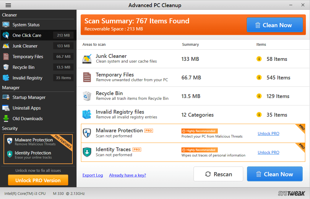 Advanced PC Cleanup Scan Results