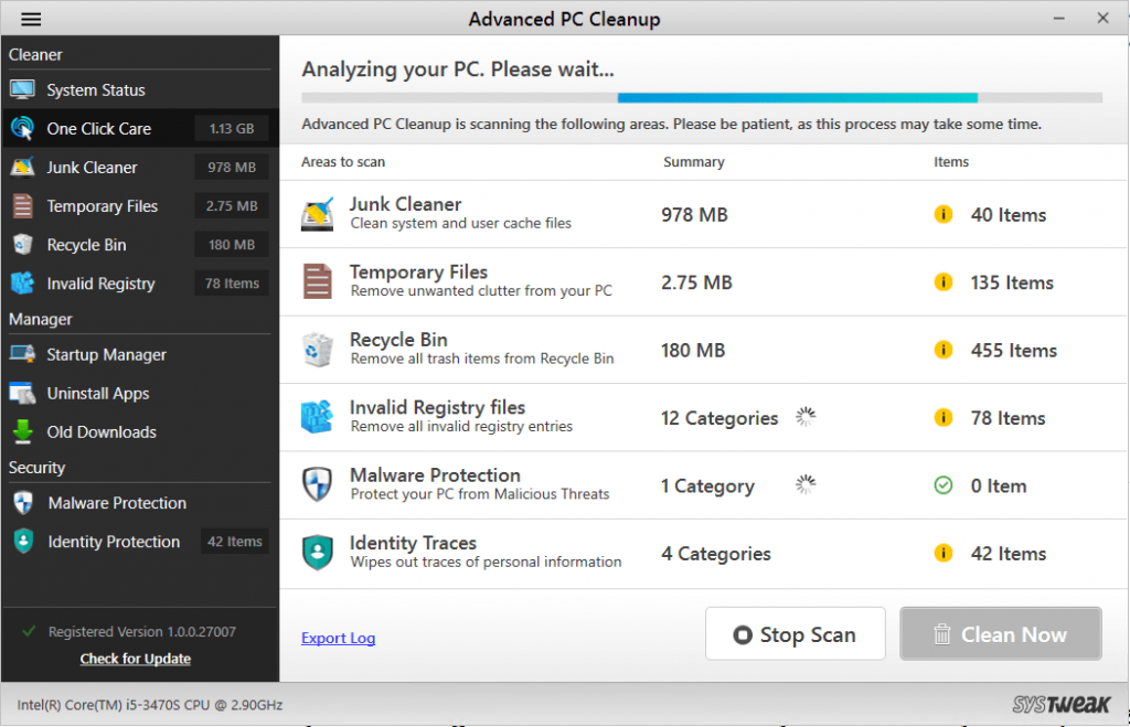 Advanced pc cleanup