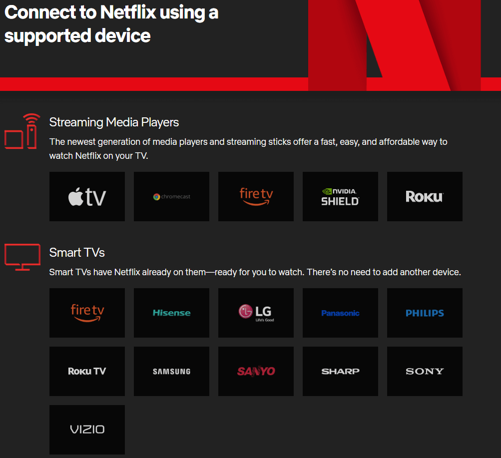 Netflix supported device list