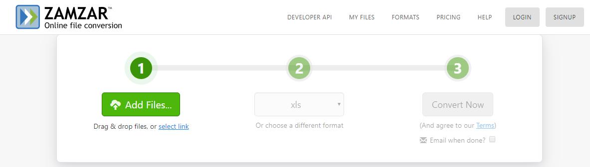 ZamZar_PDf to Excel convertor