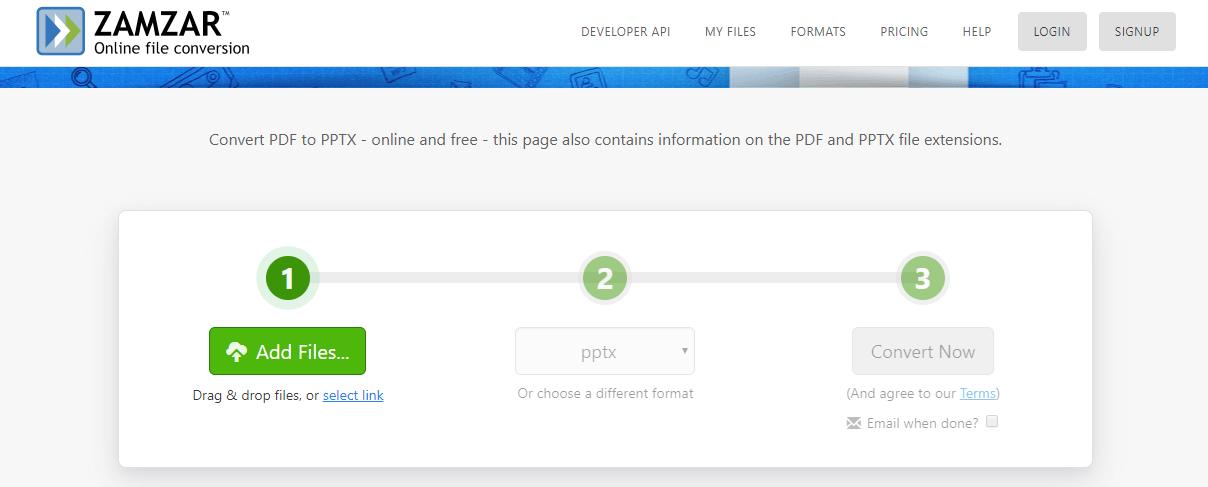Zamzar online file conversion