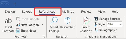 References tab