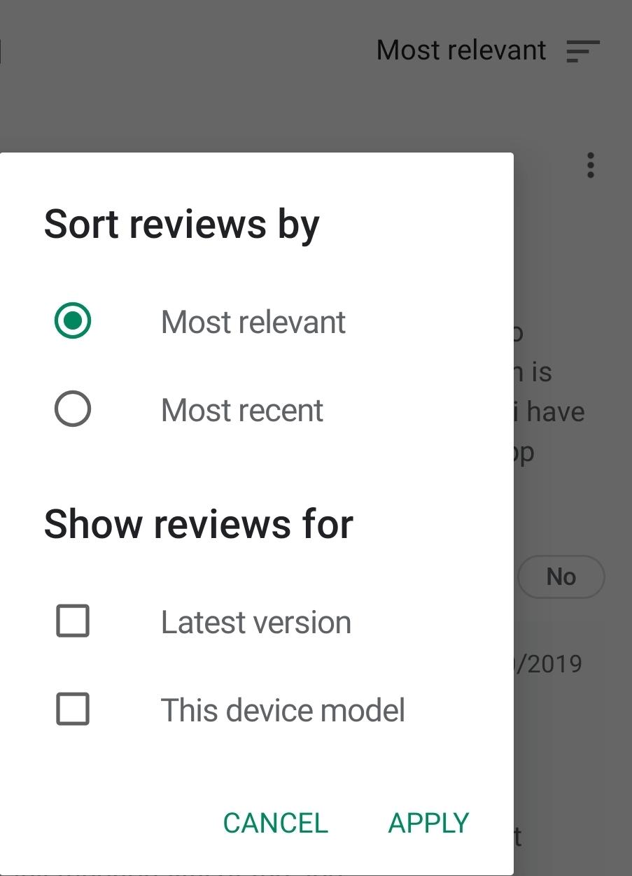 reviews - google play store application