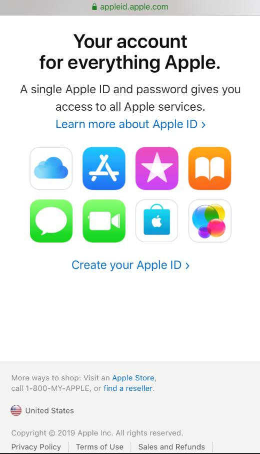 Create Apple ID Page