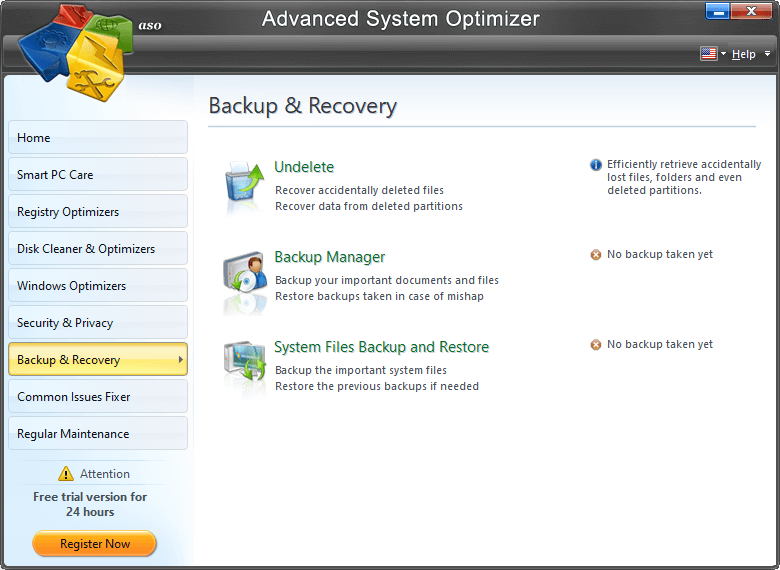 Advanced System Optimizer - Backup Recovery