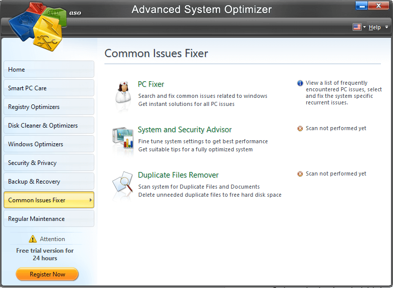 Advanced System Optimizer- common Issue Fixer