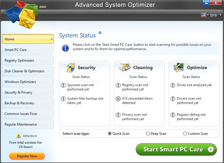 Advanced System optimizer- system staus