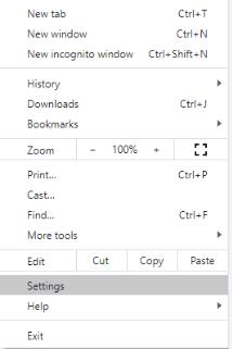 Launch Chrome settings