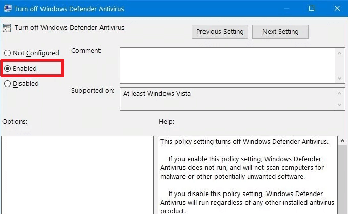 Enable Turn off windows defender antivirus