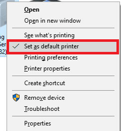 Set as Default Printer