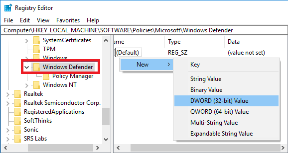 Windows Defender - DWORD