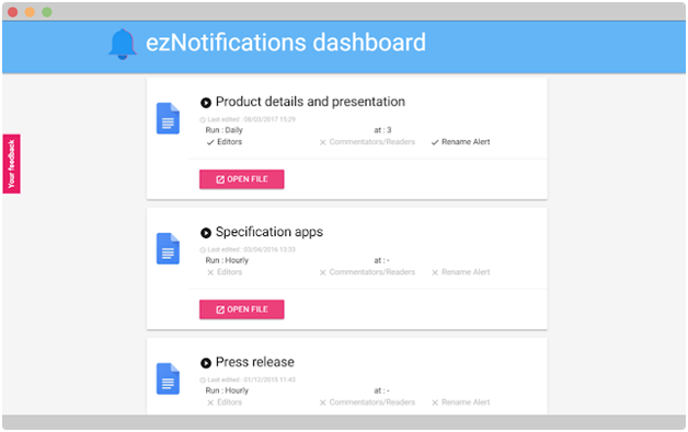 docs notification dashboard