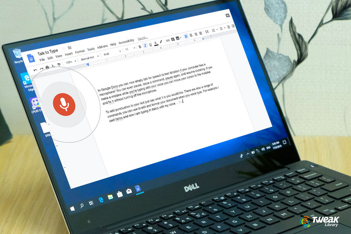 Voice Typing on Google Docs