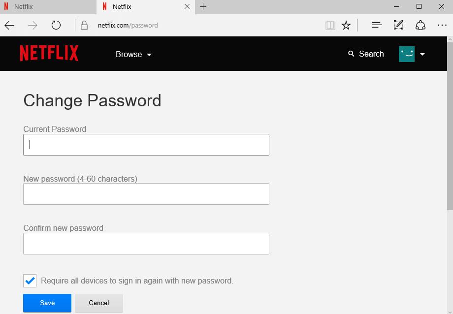 Change netflix Password