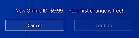 Charges to Change PSN name - Free First Time