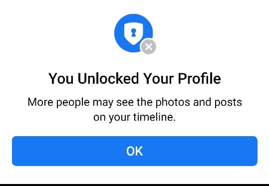Click ok Unlocked Your Profile