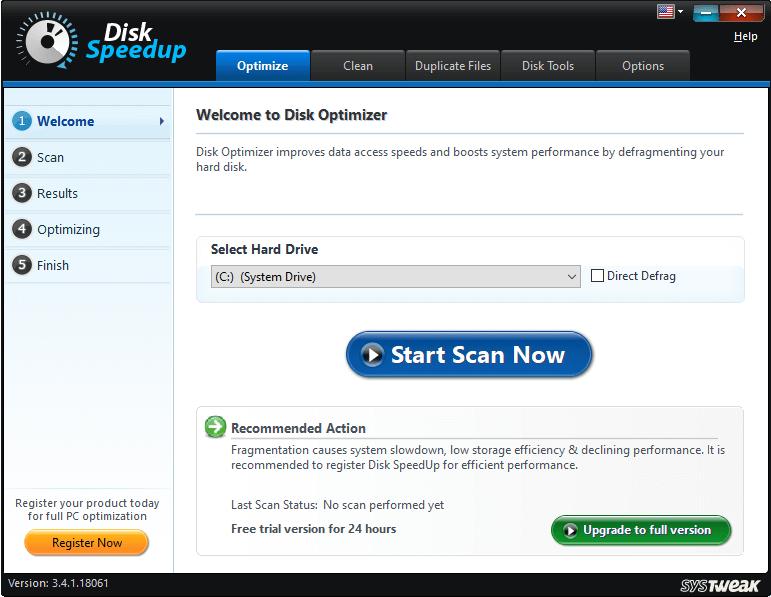 Disk Speedup console