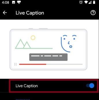Enable Live Caption Option