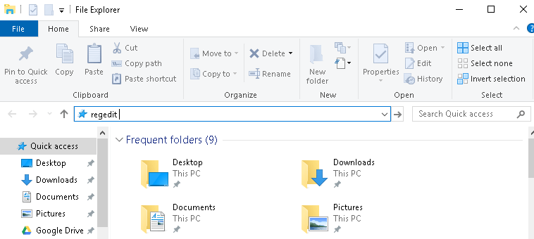 File Explorer To Open Windows 10 Registry Editor