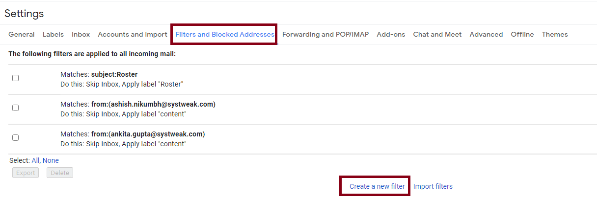 Filter and Blocked Address or Create New Filter